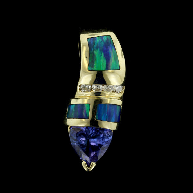 14K Yellow Gold Tanzanite, Black Opal and Diamond Pendant