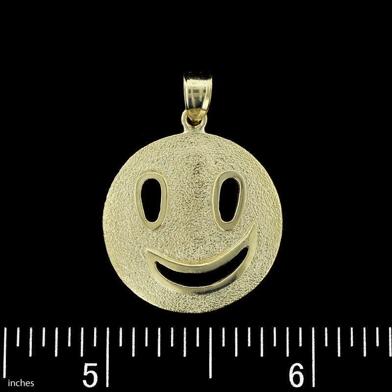 14K Yellow Gold Smiley Face Charm