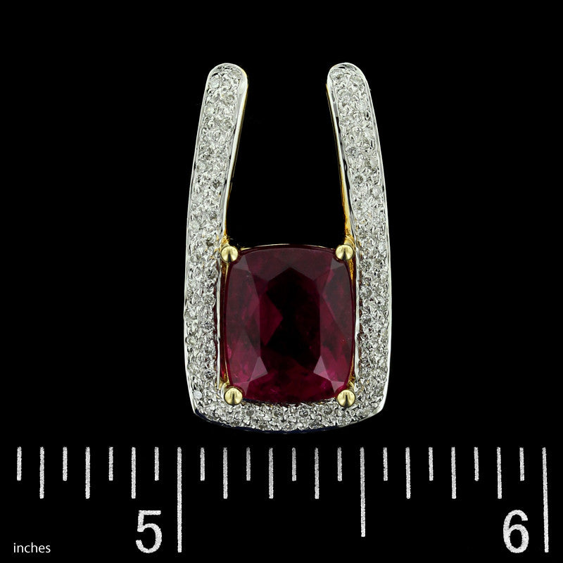 18K Yellow Gold Rubellite Tourmaline and Diamond Slide