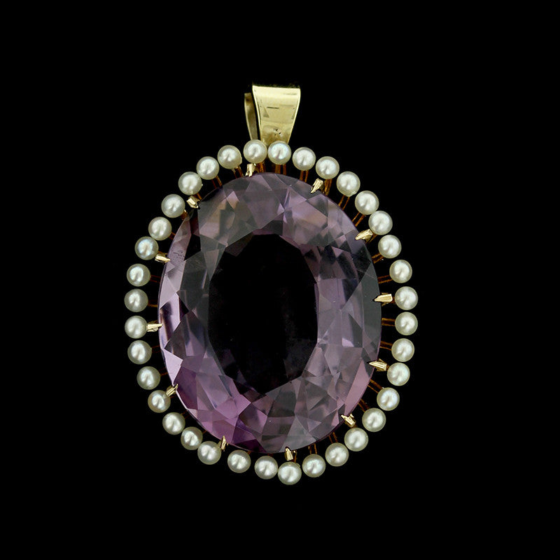 Vintage 14K Yellow Gold Amethyst and Seed Pearl Pendant