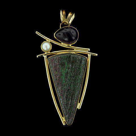 Jennifer Kalled 22K, 18K, and 14K Yellow and Sterling Silver Drusy, Pearl and Amethyst Pendant