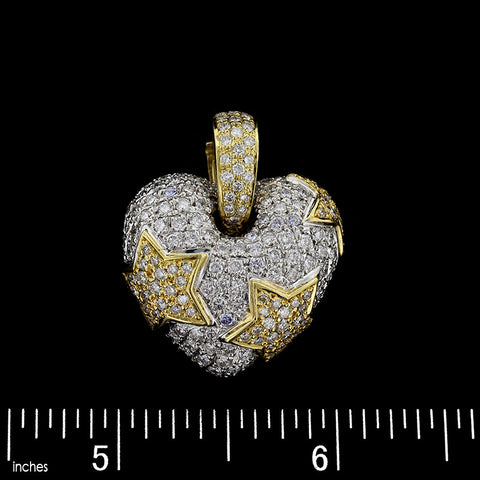 18K Two-Tone Gold Puffed Diamond Heart Enhancer
