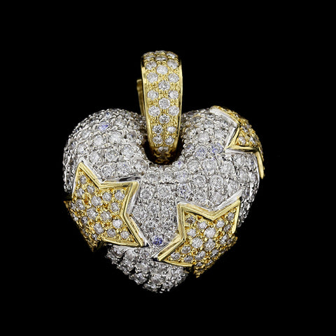 18K Two-tone Puffed Diamond Heart Enhancer