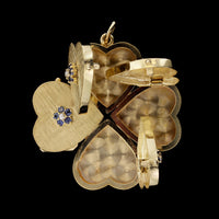 14K Yellow Gold Sapphire and Pearl Locket