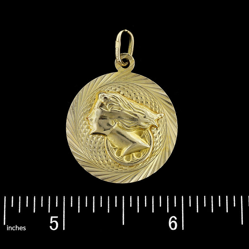 14K Yellow Gold Nefertiti and Blind Justice Charm
