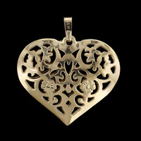 14K Yellow Gold Filigree Heart Charm
