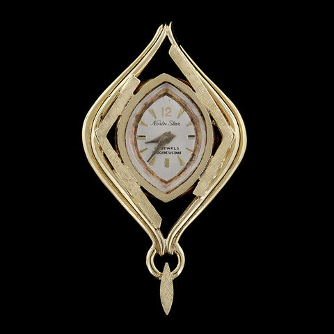 14K Yellow Gold Pendant Watch