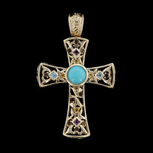 14K Yellow Gold Gem-set Cross