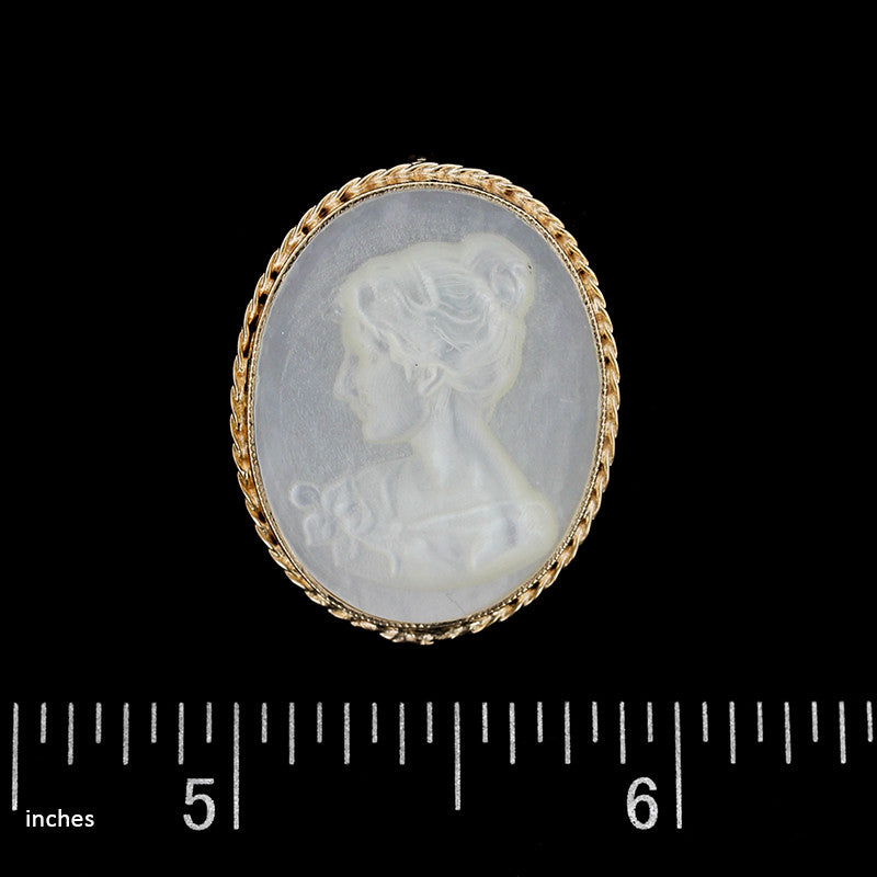 14K Yellow Gold Cameo Charm