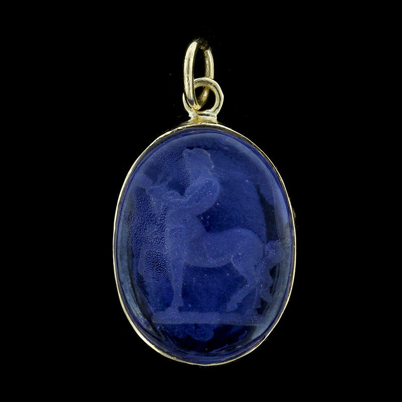 18K Yellow Gold Venetian Glass Intaglio Pendant