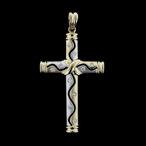14K Two-tone Gold Diamond Cross