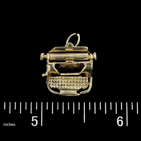 14K Yellow Gold Typewriter Charm