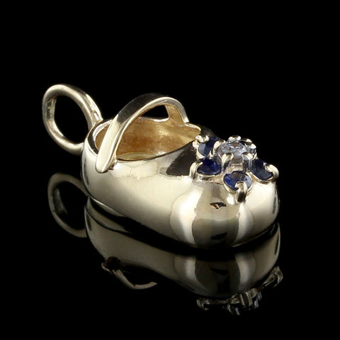 14K Yellow Gold Sapphire and Diamond Baby Shoe