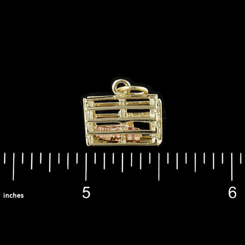 14K Two-Tone Gold Lobster Trap Charm