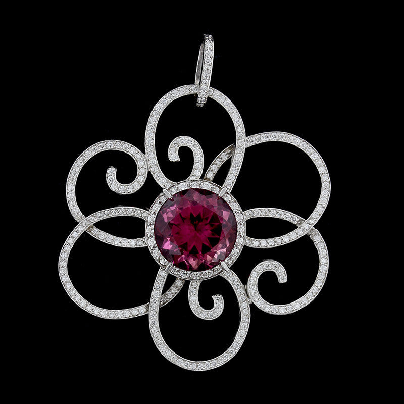 18K White Gold Pink Tourmaline Diamond Pendant