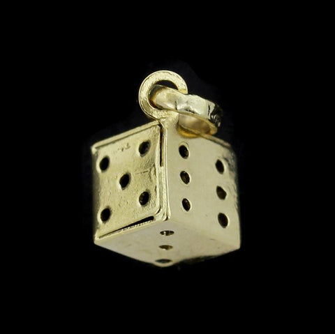 18K Yellow Gold Die Dice Charm