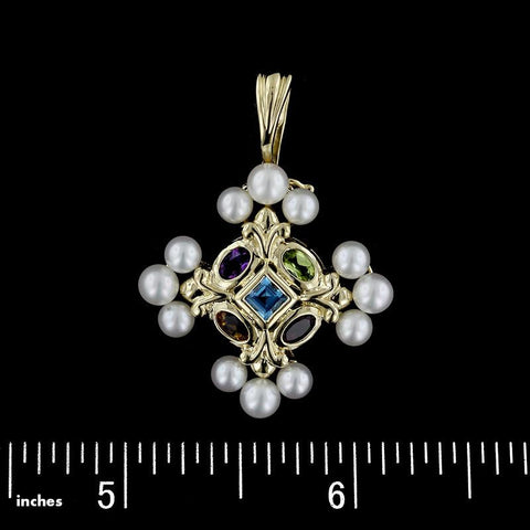 14K Yellow Gold Gem-Set Pearl Pendant/Enhancer