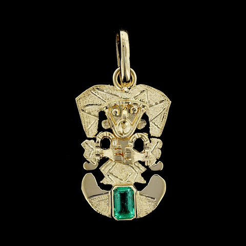 18K Yellow Gold Emerald Incan God Charm