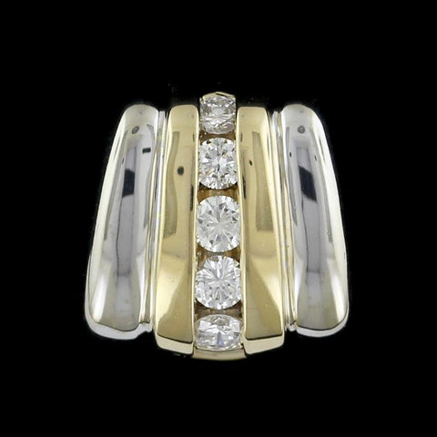 14K Two-tone Gold Diamond Slide Pendant