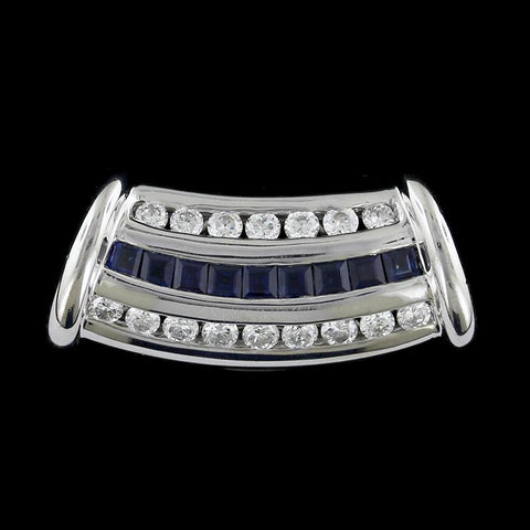 14K White Gold Sapphire and Diamond Slide Pendant