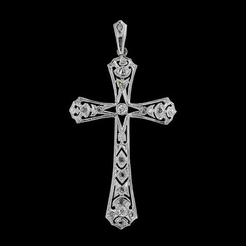 Antique Platinum Diamond Cross Pendant