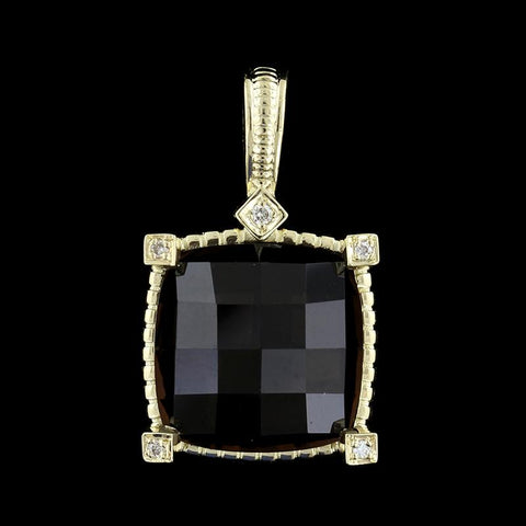 14K Yellow Gold Estate Smoky Quartz and Diamond Enhancer Pendant