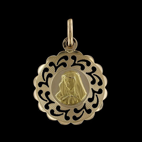 18K Yellow Gold Virgin Mary Charm
