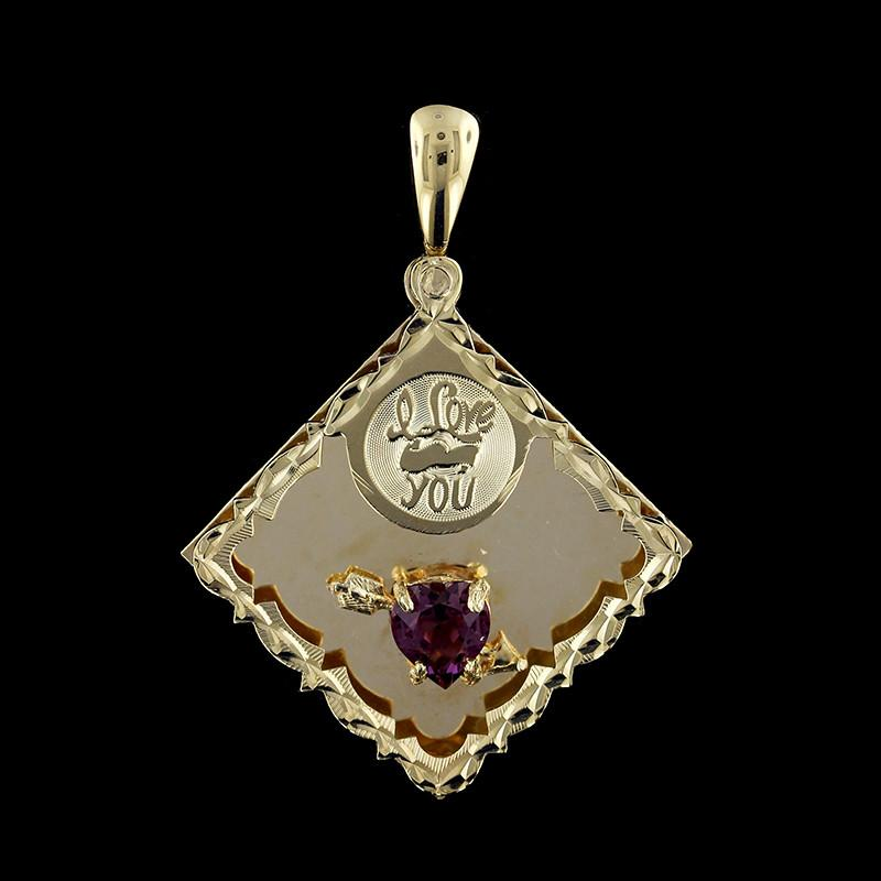 14K Yellow Gold Amethyst I Love You Charm