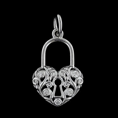 14K White Gold Diamond Padlock Charm