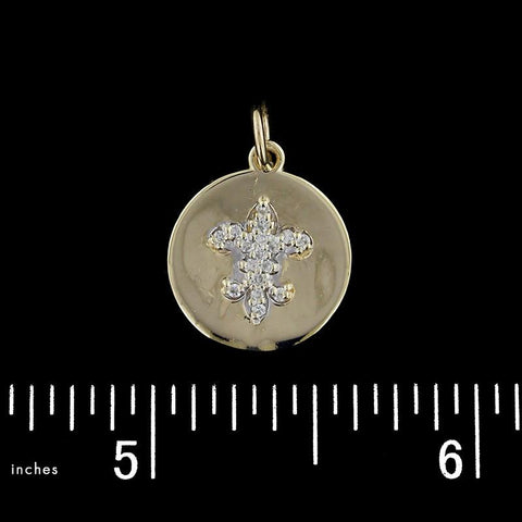 14K Yellow Gold Fleur de Lis Diamond Charm