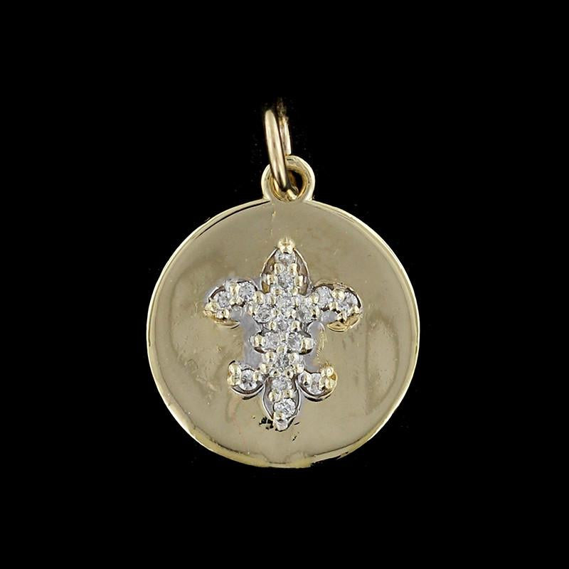 14K Yellow Gold Fluer de Lis Diamond Charm