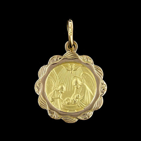 18K Yellow Gold Baptism Medal