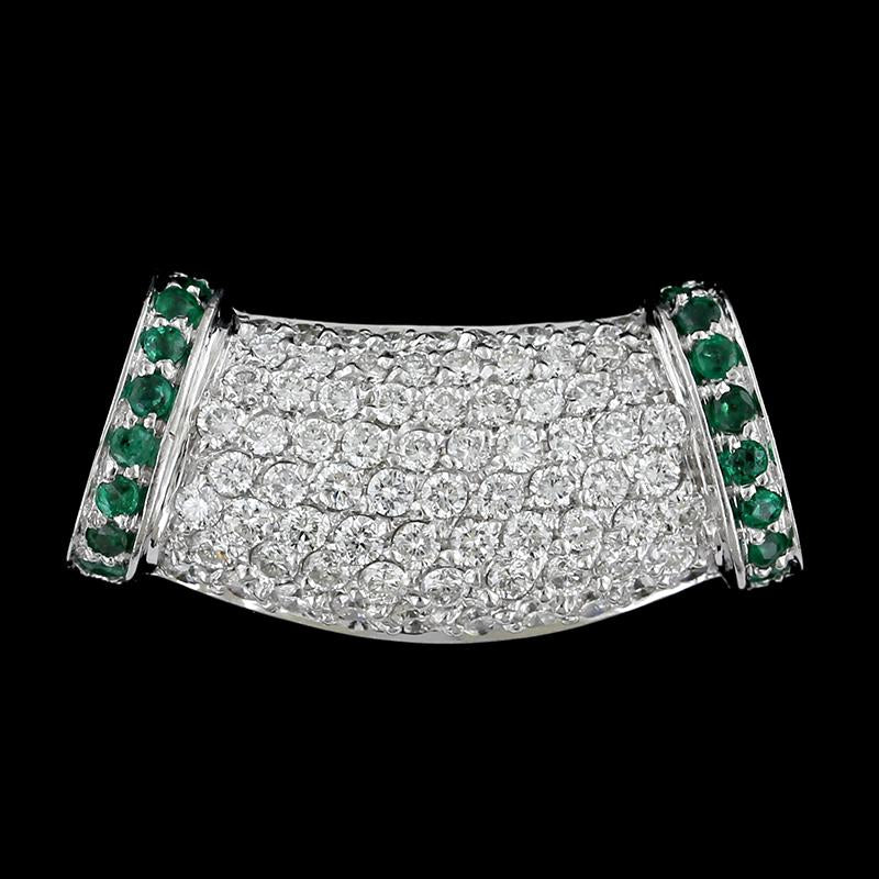 14K White Gold Emerald and Diamond Slide Pendant