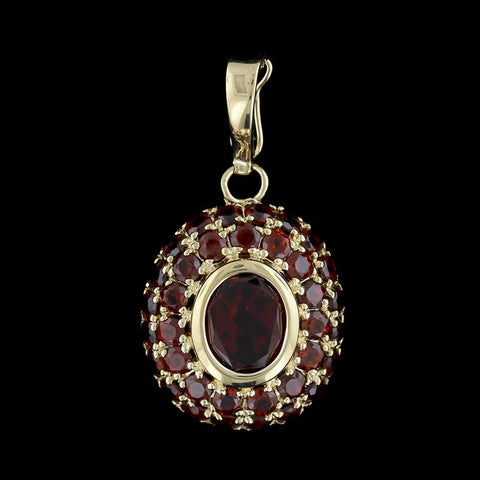 14K Yellow Gold Garnet Pendant/Enhancer