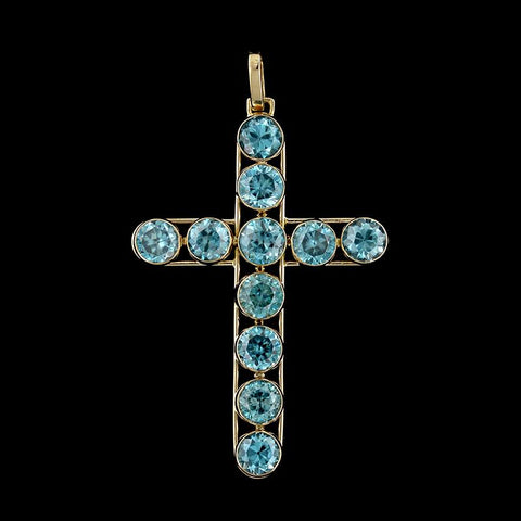 Vintage 14K Yellow Gold Blue Zircon Cross