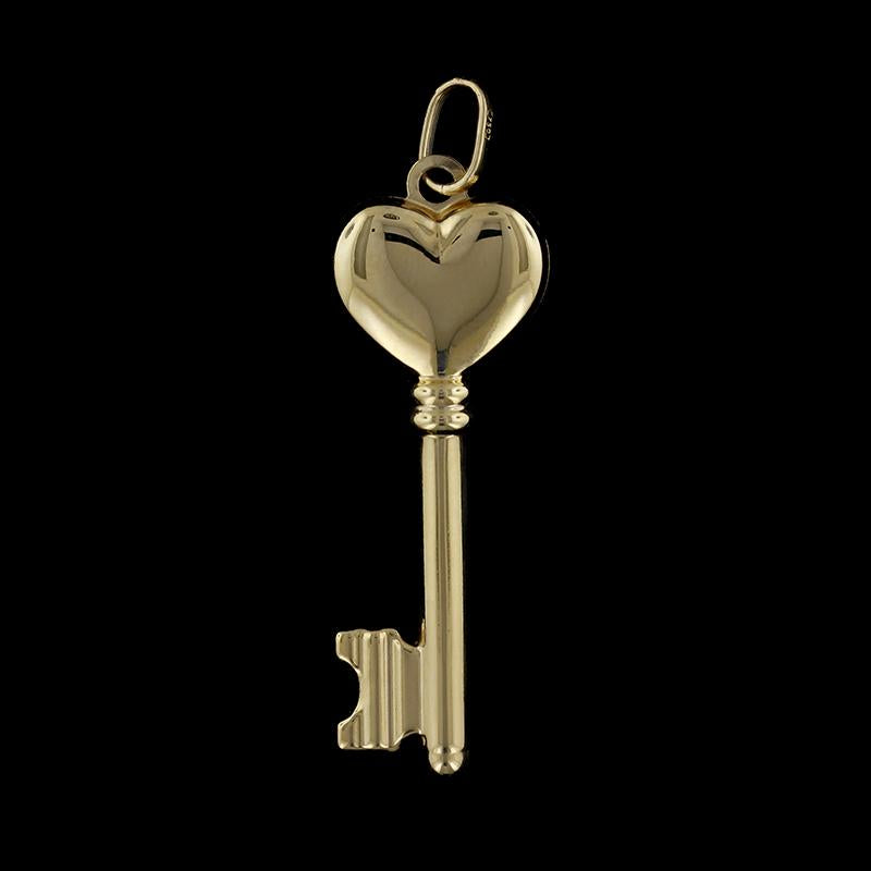 18K Yellow Gold Heart Key Charm
