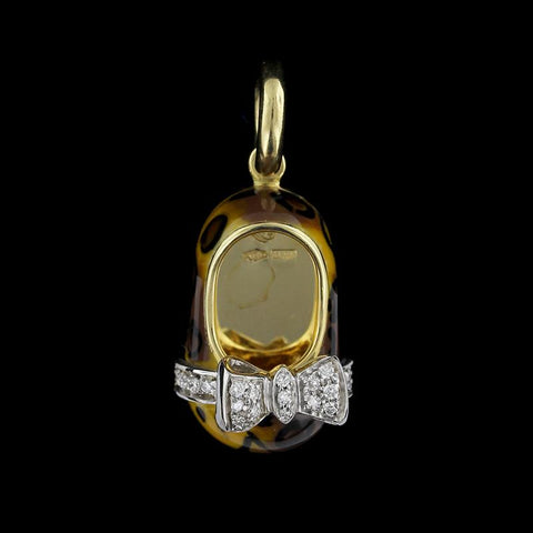 Aaron Basha 18K Yellow Gold Enamel and Diamond Shoe Charm