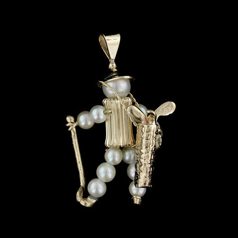14K Yellow Gold Cultured Pearl Golfer Charm