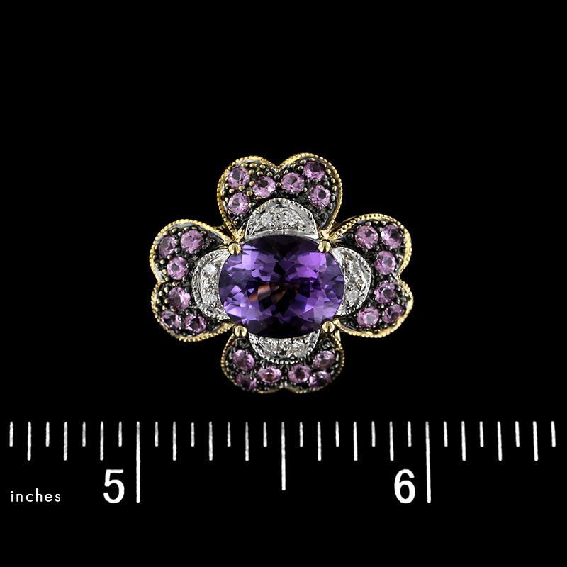 14K Yellow Gold Amethyst and Diamond Slide Pendant