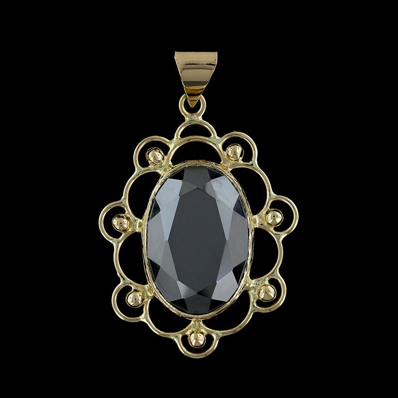 14K Yellow Gold Marcasite Pendant