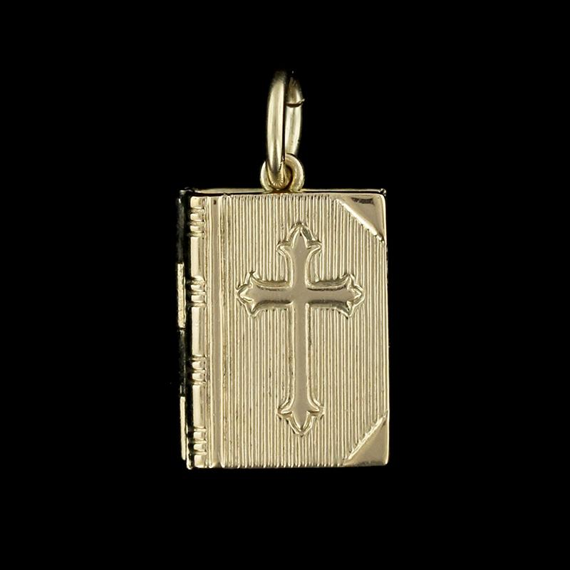14K Yellow Gold Bible Charm
