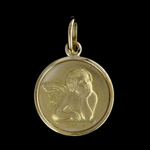 14K Yellow Gold Guardian Angel Medal