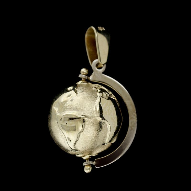 14K Yellow Gold Spinning Globe Charm