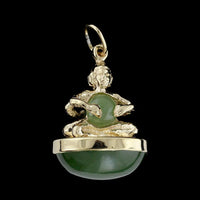 14K Yellow Gold Estate Nephrite Jade Sitting Buddha Charm