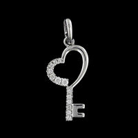 14K White Gold Estate Diamond Heart Key Pendant