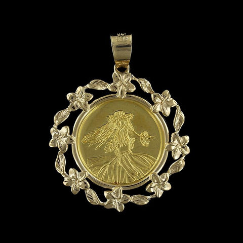 14K and 24K Yellow Gold Kim Taylor Reece Gold Coin Pendant