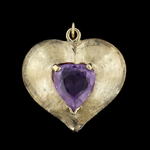 14K Yellow Gold Amethyst Heart Charm