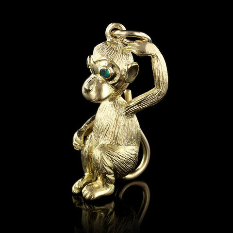 18K Yellow Gold Emerald Monkey Charm