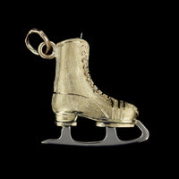 14K Two-Tone Gold Estate Figure Skate Charm