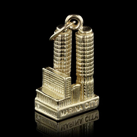 14K Yellow Gold Marina City Towers Chicago Charm